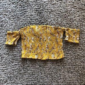 Mustard Yellow Floral Crop Top